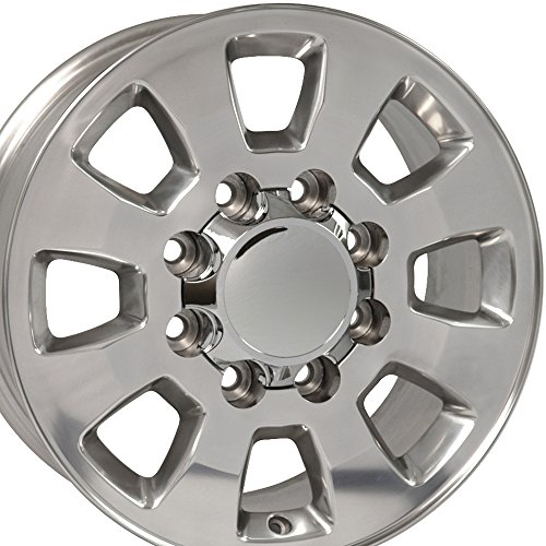 - OE Wheels 18 Inch Fits Chevy Silverado 2500HD 3500HD GMC Sierra 2500HD 3500HD 8x180 Heavy Duty Silverado Style CV75B Polished 18x8 Rim Hollander 5501