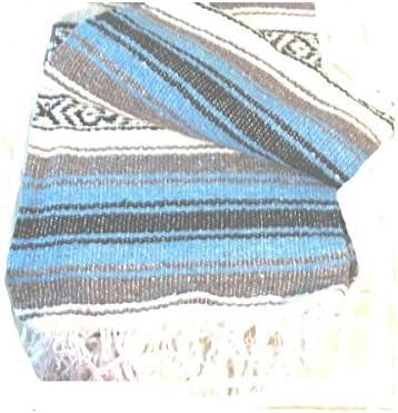 Light Blue Falsa Mexican Yoga Blanket Large 7/5