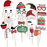 Christmas Party Photo Booth Props 22pcs Glass Cap Moustache Attached to the Sticks, NO DIY Required