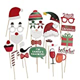 Toys : Christmas Party Photo Booth Props 22pcs Glass Cap Moustache Attached to the Sticks, NO DIY Required