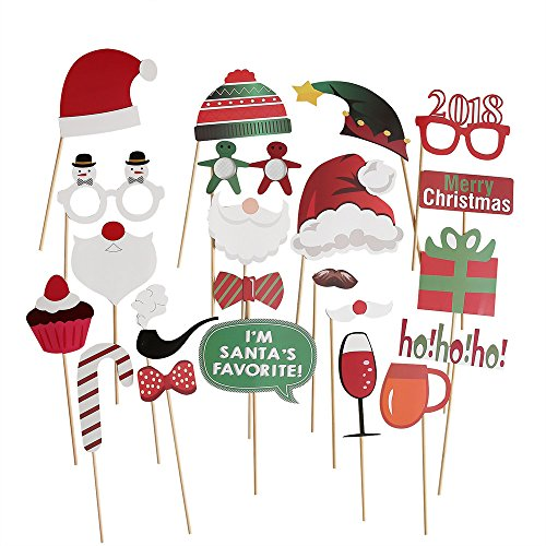 Christmas Party Photo Booth Props 22pcs Glass Cap Moustache Attached to the Sticks, NO DIY (Christmas Party Masks)