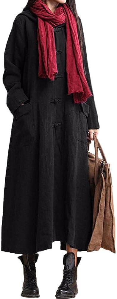 TALLA L. Romacci Primavera Otoño Mujer Vintage Vestido con Capucha de Manga Larga Casual Suelta Algodón Sólido Vestido de Borgoña Azul Oscuro Negro