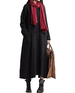 20a7e05aab8 Romacci Women Autumn Long Coat Full Length Hoodie Coat Vintage Cotton Linen  Outwear…