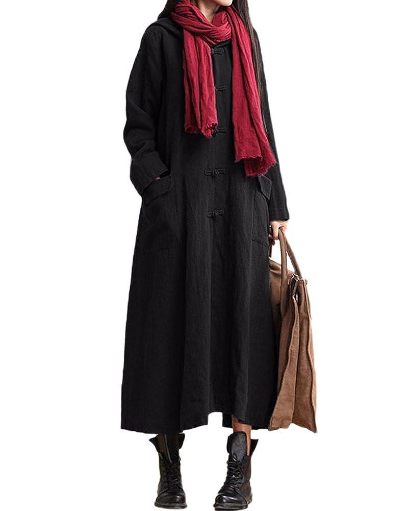 TALLA S. Romacci Primavera Otoño Mujer Vintage Vestido con Capucha de Manga Larga Casual Suelta Algodón Sólido Vestido de Borgoña Azul Oscuro Negro