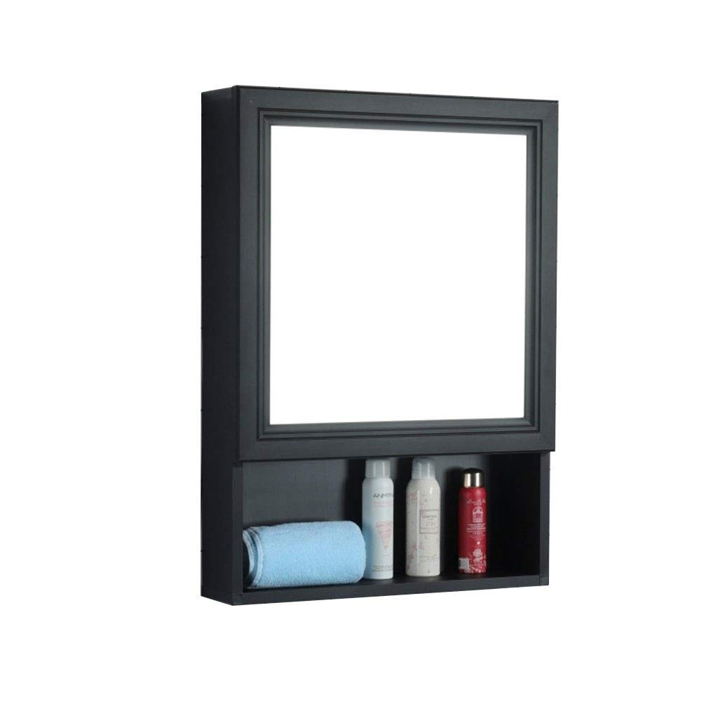 Shower Mirrors Mirror Cabinet Nordic Wall-mounted Vanity Storage Cabinet Wall-mounted Bathroom Mirror Cabinet Mirror Box Bathroom Aluminum Alloy Rack Waterproof (Color : Black, Size : 507013cm)