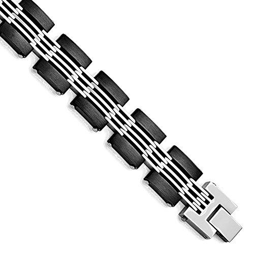 (Lex & Lu Chisel Stainless Steel Brushed & Black Plated Bracelet 8