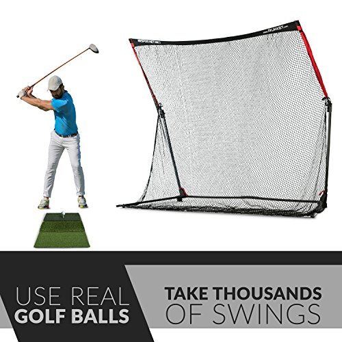 Rukket 4pc Golf Bundle | 10x7ft SPDR Driving Net | Tri-Turf Hitting Mat | Barrier Protective Wings | Carry Bag | Practice Indoor and Outdoor by Rukket Sports (Image #1)