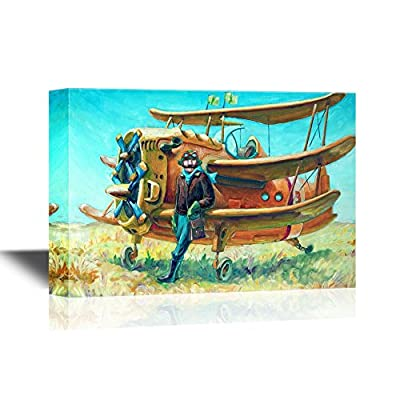 The Pilot and His Fantastic Two Propeller Retro Airplane 16x24
