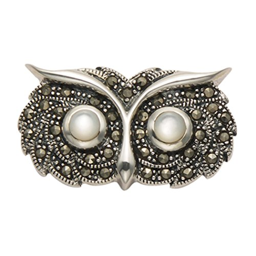 Sterling Silver Marcasite Owl Head Pin (Marcasite Owl Pin)