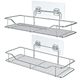 Adhesive Bathroom Shelf, iSEPCLE 2 Pack Shower Caddy Organizer Storage Rack, No Drilling, No Damage for Wall, 304 Stainless Steel