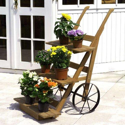 Blumenkarre mit Speichenrädern 88 x 68 x 106 cm Blumentreppe Blumenwagen Kiefer