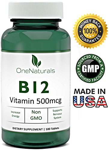 OneNaturals Vitamin B12 Cyanocobalamin Supplement (500 mcg, Vegan, 100 Tablets) Chewable, Easy to Swallow