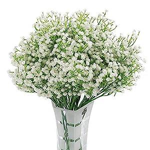 Homcomoda 12 Pack Artificial Flowers Babies Breath Flowers Fake Gypsophila Plants Bouquets for Wedding Home DIY Decoration