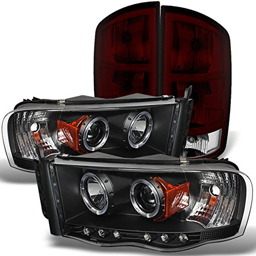 For Dodge Ram 1500 2500 3500 Pickup Black Dual Halo Projector LED Headlights + Dark Red Tail Light Lamp ()