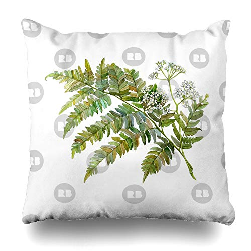 Ahawoso Throw Pillow Cover Square 18x18 Inches Watercolor Fern and Flowers Decorative Pillow Case Home Decor Pillowcase ()