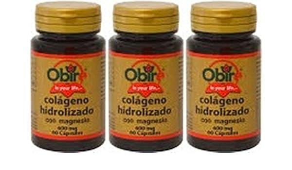 Colágeno hidrolizado con magnesio 600 mg 60 cápsulas. Pack de 3: Amazon.es: Salud y cuidado personal
