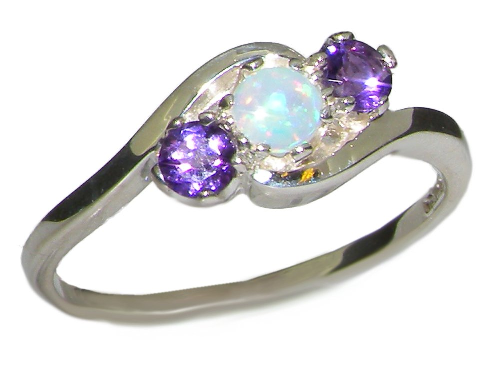 925 Sterling Silver Natural Opal & Amethyst Womens Promise Ring - Size 7.5