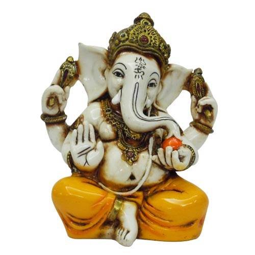 Lightahead The Blessing. A Colored & Gold Statue of Lord RAJA Ganesh GANPATI Elephant Hindu GOD Made from Marble Powder in India -