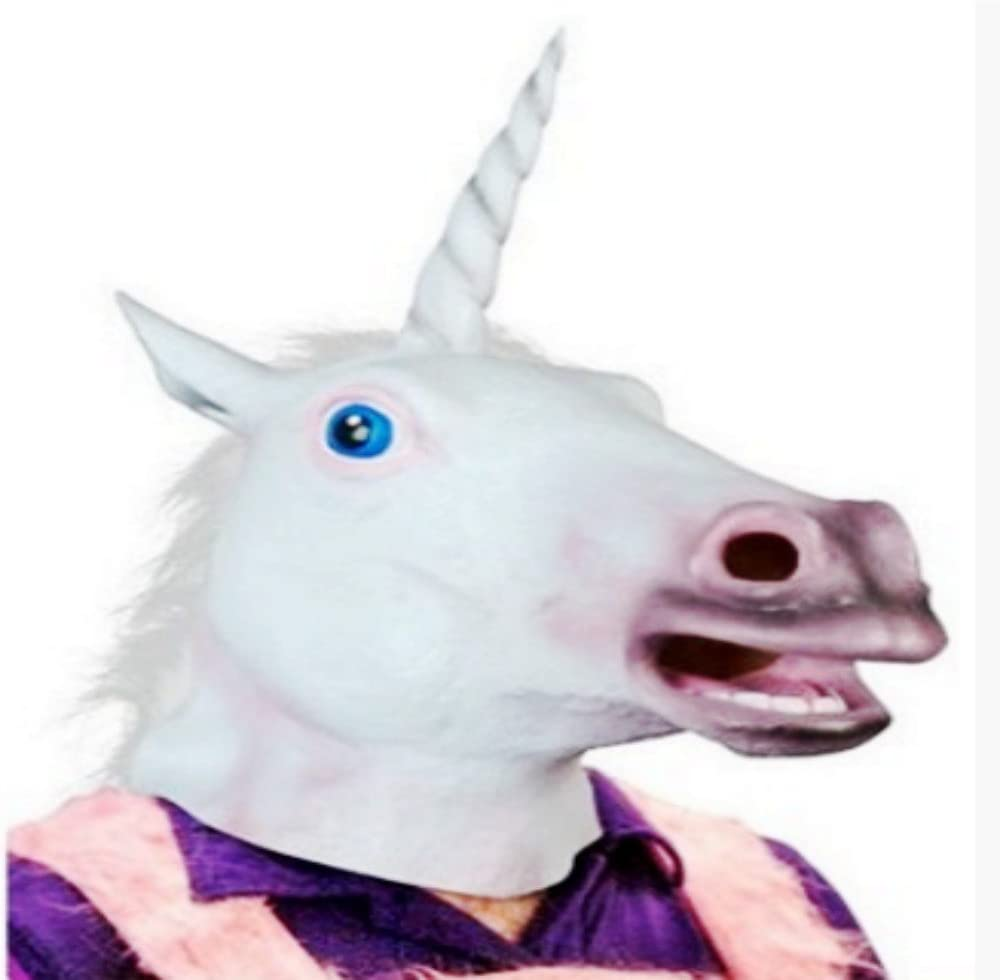 UK Halloween Party White Unicorn Carnival Latex Rubber Full Head Mask