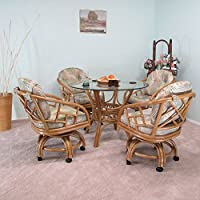 Made in USA Rattan Chiba Dining Caster Chair Table Gaming Furniture 5PC Set