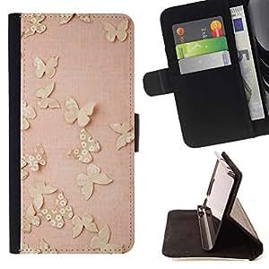For Apple Apple iPhone 4 / iPhone 4S Case , Mariposas del oro rosado de la primavera lindo Limpio- la tarjeta de Crédito Slots PU Funda de cuero Monedero caso cubierta de piel