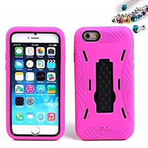 LCJ Stripe Scaffold Robot Back Cover Case And Dustproof Plug for iPhone 6(Assorted Colors) , Black