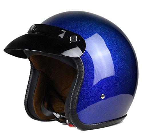Woljay 3/4 Open Face helmet, Motorcycle Helmet Flat Blue ()
