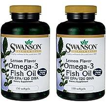 Swanson Omega-3 Fish Oil - Lemon Flavor 150 Sgels 2 Pack