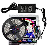 xtf2015 Led Strip Lighting 5Meter 16.4ft Waterproof Flexible Color Changing RGB SMD5050 150 LEDs Light Strip Kit + 44 Key Remote Controller + 12V 3A Power Supply
