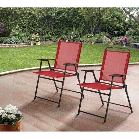 Mainstay Pleasant Grove Sling Folding Chair, Set of 2, Red