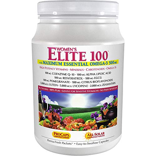 Andrew Lessman Multivitamin – Women's Elite-100 with Maximum Essential Omega-3 500 mg 120 Packets – 40+ Potent Nutrients, Essential Vitamins, Minerals, Phytonutrients and Carotenoids. No Additives