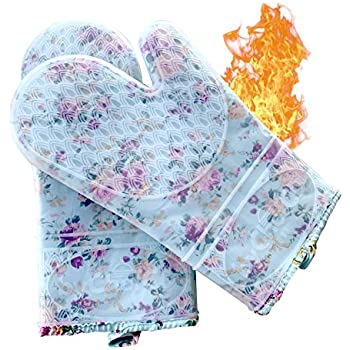 Professional Silicone Oven Mitts / Heat Resistant Gloves (ByChefCD) - Non-Slip Professional Cooking Gloves, Kitchen Potholders And Oven Mitts, Grill Gloves Heat Resistant, Best Oven Mitt (Clear)