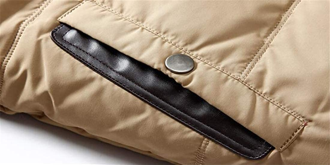 Wan-T Mens Warm Hooded Outerwear Winter Thicken Coat Faux Fur Collar Down Jacket