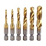 6Pcs Combination Drill and Tap Set,Metric Thread M3-M10 Screw Tapping Tool 1/4'' Hex Shank Titanium Plated HSS