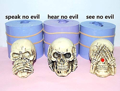 3D Silicone skull Mold candle soap mould easy release Homemade plaster resin ()