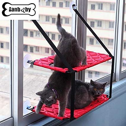 WEATLY Cat Hamaca Ventosa Ventana Colgante Ventosa Colchón de Gato ...