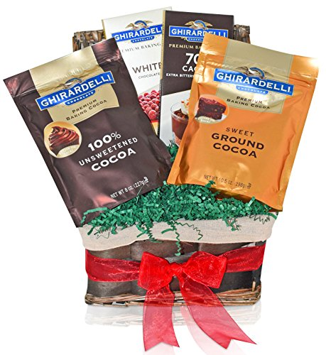 Ghirardelli Christmas Chocolate & Cocoa Variety Gift Basket - Dark and White Premium Baking Bars - Cocoa in Pouch - Ghirardelli Mixed Christmas Gift Pack for Family, Friends, Him, Her and more