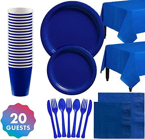 Party City Solid Royal Blue Party Tableware Supplies for 20 Guests, with Plates, Napkins, Cups, Table Covers, and More