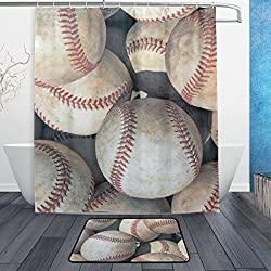 ALAZA Set of 2 American Sports Theme 60 X 72 Inches Shower Curtain and Mat Set, Vintage Baseball Waterproof Fabric Bathroom Curtain and Rug Set with Hooks