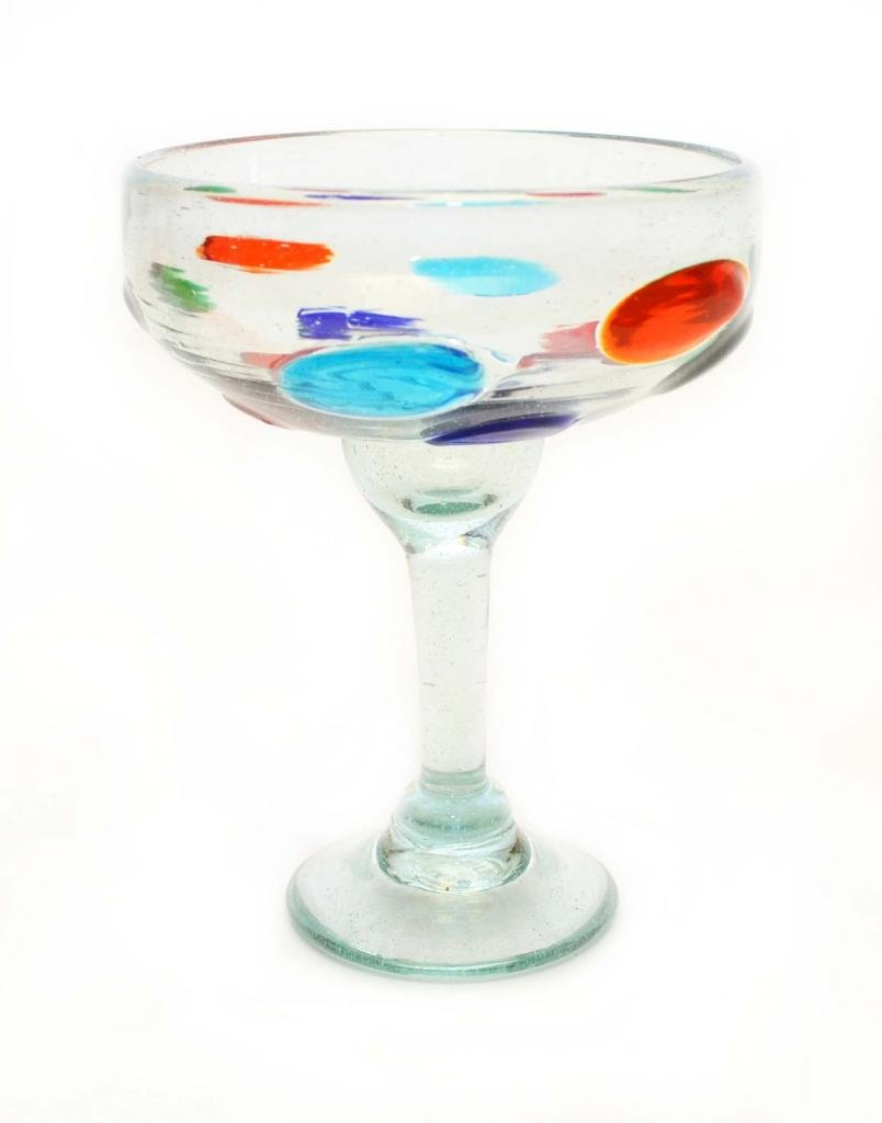 SET OF 4, DOTS MARGARITA GLASSES, RECYCLED GLASS - 14OZ. HANDMADE. by Laredo