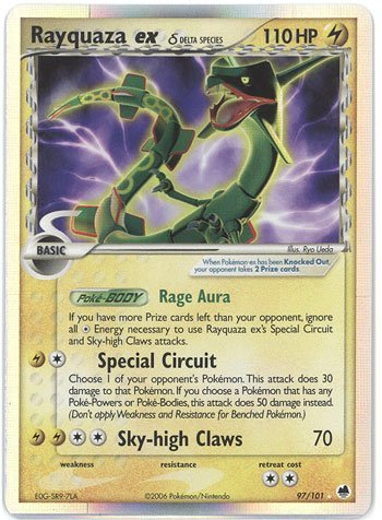 Pokemon EX Dragon Frontiers #97 Rayquaza ex Holofoil Card [Toy]