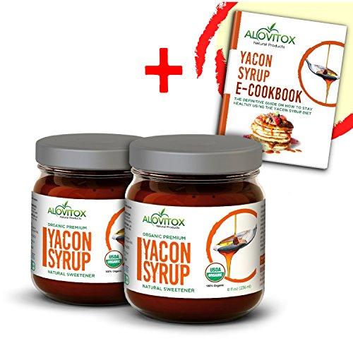 2 Pack Yacon Syrup - USDA Certified Organic Natural Sweetener - All-Natural Sugar Substitute - 8 Oz. SafeGlass Jar - Keto Vegan & Gluten Free