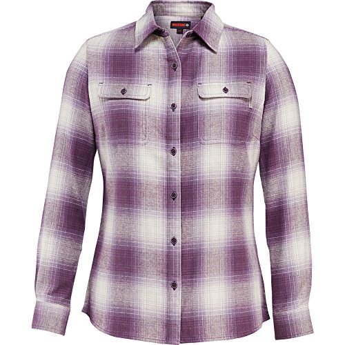 Wolverine Women's Aurora Two-Sided Brushed Flannel Shirt, Eggplant Plaid, (Purple Plaid Woven Shirt)