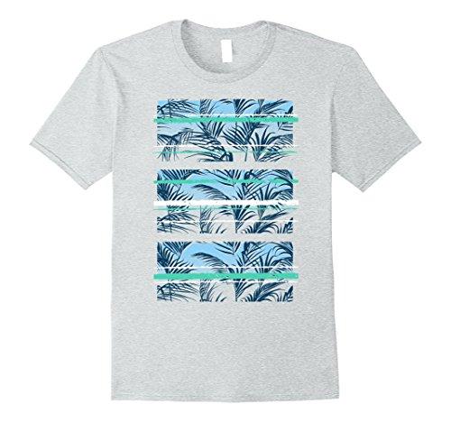 Mens Palm Leaves Teal Aqua Stripes Streetwear Graphic T-Shirt Medium Heather (Palm Beach Stripe)
