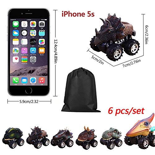 PAWACA Pull Back Dinosaur Cars, Dino Cars Toys with Big Tire Wheel for 3-14 Year Old Boys Girls Creative Gifts for Kids (6 Pack)