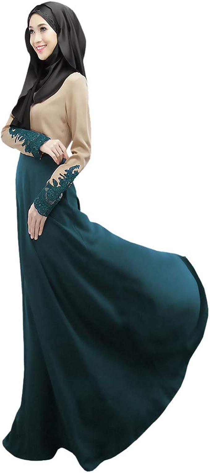 Madmoon Muslim langes Kleid Jacke gekräuselte langärmelige Spitze