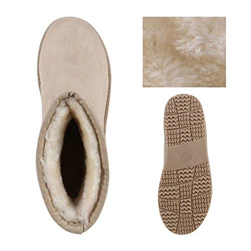Damen Schlupfstiefel Warm Gefütterte Stiefel Leopard Print Stiefeletten Glitzer Schuhe Strass Blumen Schleifen Boots Flandell Creme Strass