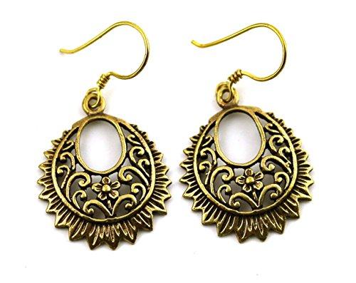 Bronze Filigree Earrings Flower Vine Drop Dangle Fish Hook Vintage Thailand - Flower Earrings Bronze