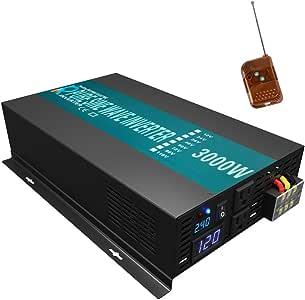 WZRELB 3000watt Pure Sine Wave Inverter 24V DC to 120V AC  60HZ with LED Display Wireless Remote Controller  Car Inverter Generator
