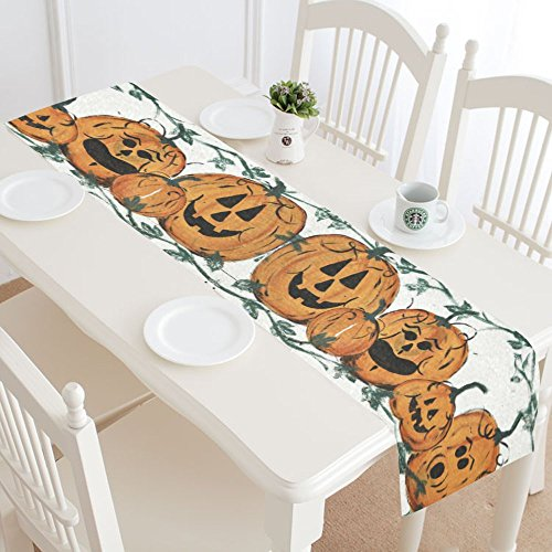 Halloween Pumpkin Decor (InterestPrint Halloween Pumpkin Family Polyester Table Runner Placemat 16 x 72 inch, Dusty Tablecloth for Office Kitchen Dining Wedding Party HomeDecor)